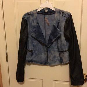 New denim jean & faux leather Moto jacket Jr Large